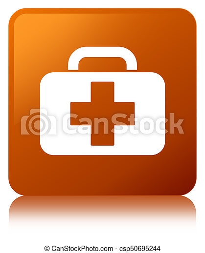 Medical bag icon brown square button - csp50695244