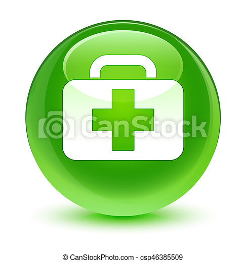 Medical bag icon glassy green round button - csp46385509