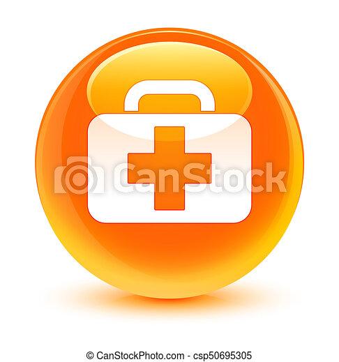 Medical bag icon glassy orange round button - csp50695305