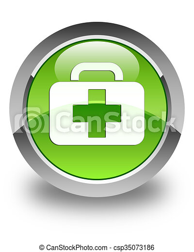 Medical bag icon glossy green round button - csp35073186