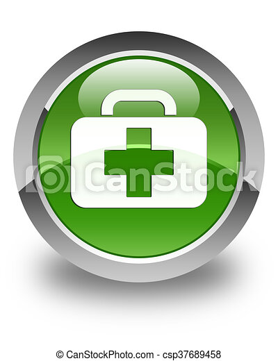 Medical bag icon glossy soft green round button - csp37689458