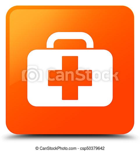 Medical bag icon orange square button - csp50379642