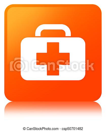 Medical bag icon orange square button - csp50701482