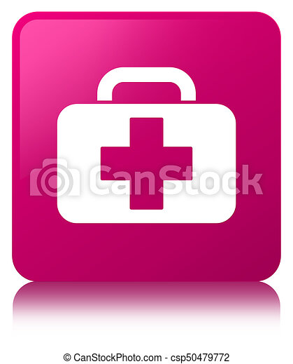 Medical bag icon pink square button - csp50479772