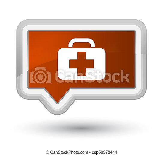 Medical bag icon prime brown banner button - csp50378444
