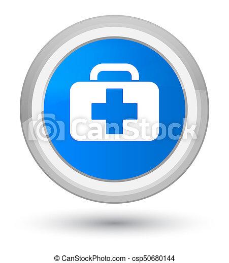 Medical bag icon prime cyan blue round button - csp50680144