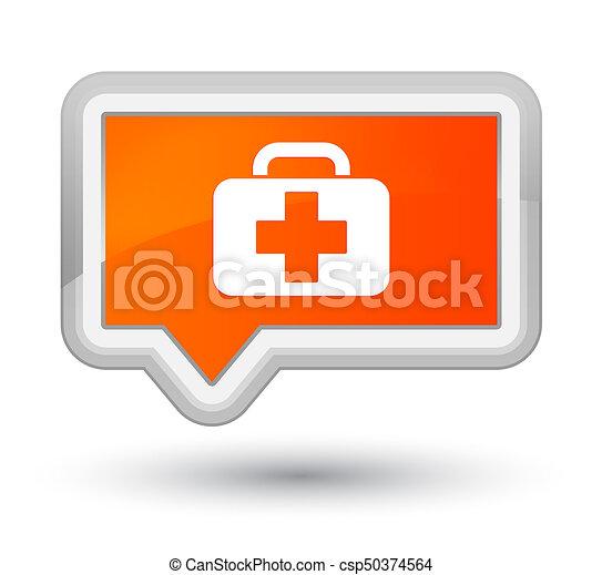 Medical bag icon prime orange banner button - csp50374564