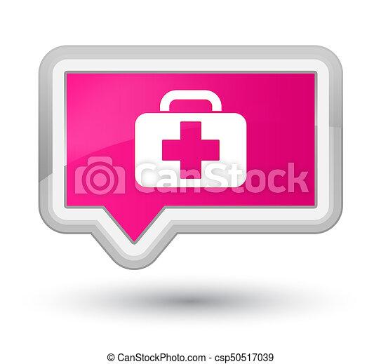 Medical bag icon prime pink banner button - csp50517039