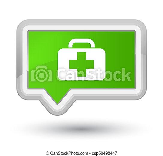 Medical bag icon prime soft green banner button - csp50498447