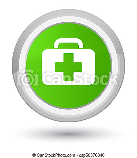Medical bag icon prime soft green round button - csp50376840