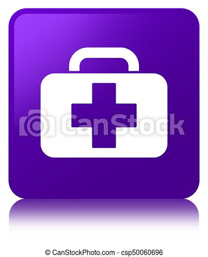 Medical bag icon purple square button - csp50060696