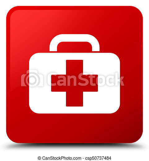 Medical bag icon red square button - csp50737484