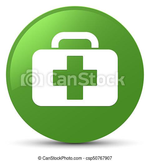 Medical bag icon soft green round button - csp50767907