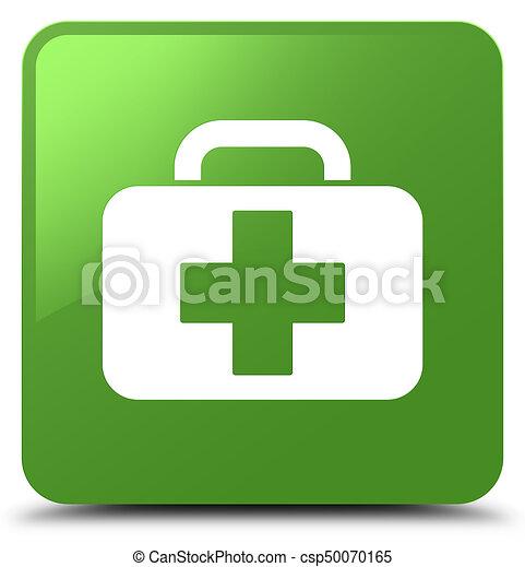Medical bag icon soft green square button - csp50070165