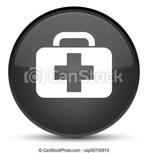 Medical bag icon special black round button - csp50702919