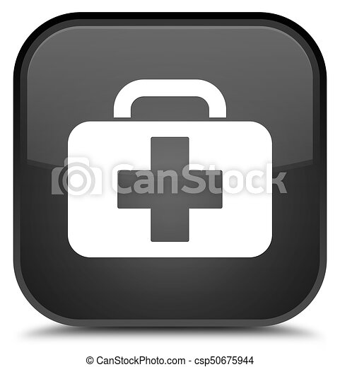 Medical bag icon special black square button - csp50675944