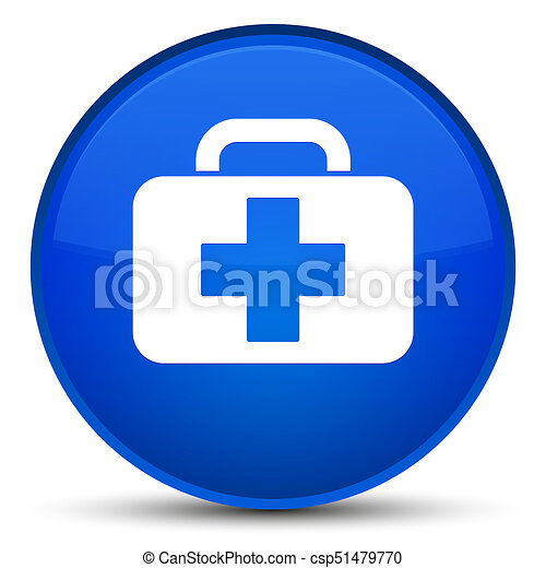Medical bag icon special blue round button - csp51479770