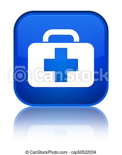 Medical bag icon special blue square button - csp50522034