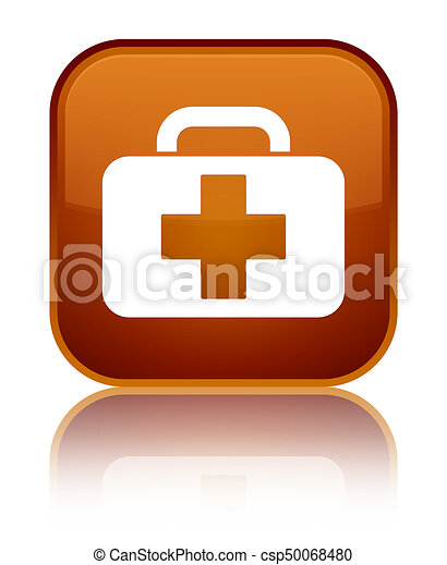Medical bag icon special brown square button - csp50068480