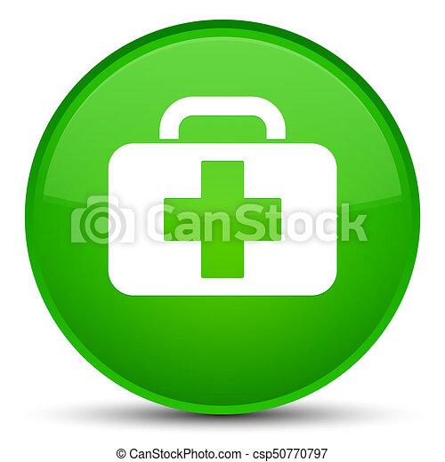 Medical bag icon special green round button - csp50770797