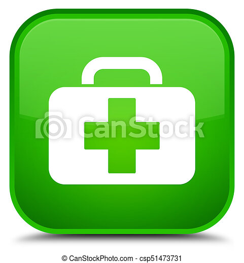 Medical bag icon special green square button - csp51473731