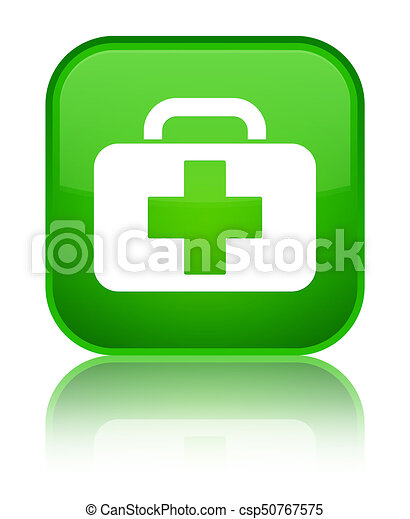 Medical bag icon special green square button - csp50767575
