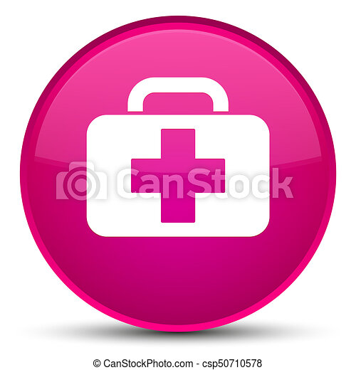 Medical bag icon special pink round button - csp50710578
