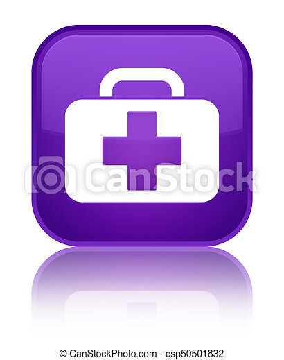 Medical bag icon special purple square button - csp50501832
