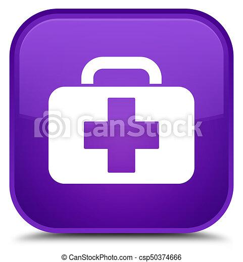Medical bag icon special purple square button - csp50374666