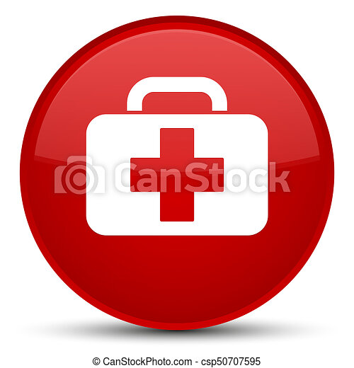 Medical bag icon special red round button - csp50707595