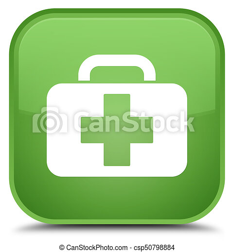 Medical bag icon special soft green square button - csp50798884