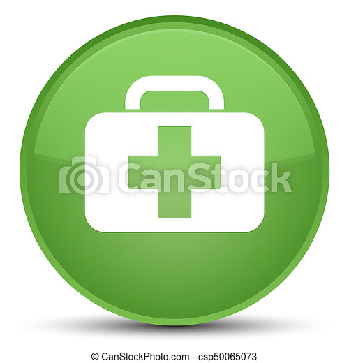 Medical bag icon special soft green round button - csp50065073
