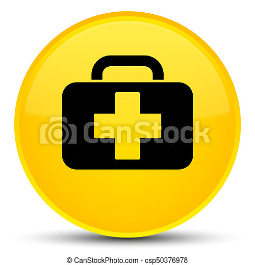 Medical bag icon special yellow round button - csp50376978