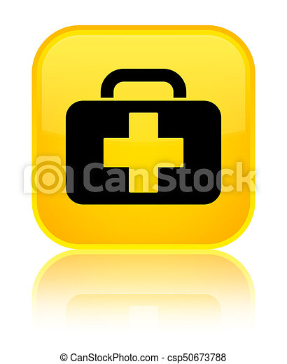 Medical bag icon special yellow square button - csp50673788