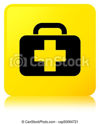 Medical bag icon yellow square button - csp50064721