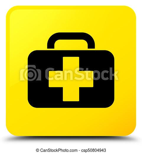 Medical bag icon yellow square button - csp50804943