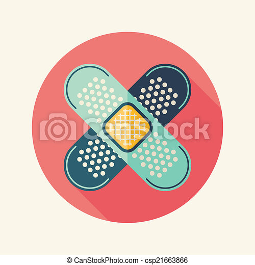 medical bandage flat icon with long shadow - csp21663866