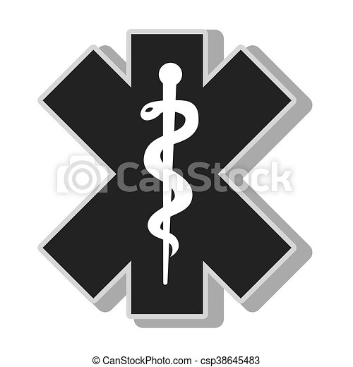 Medical Caduceus Symbol Isolated Flat Icon With Black And