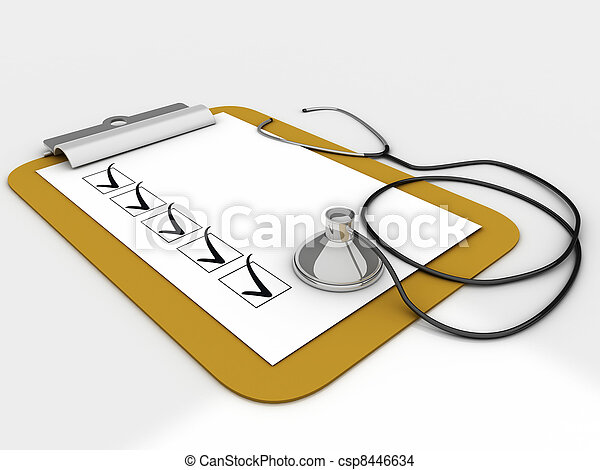 Medical clipboard with checklist paper for messages and a stethoscope - csp8446634