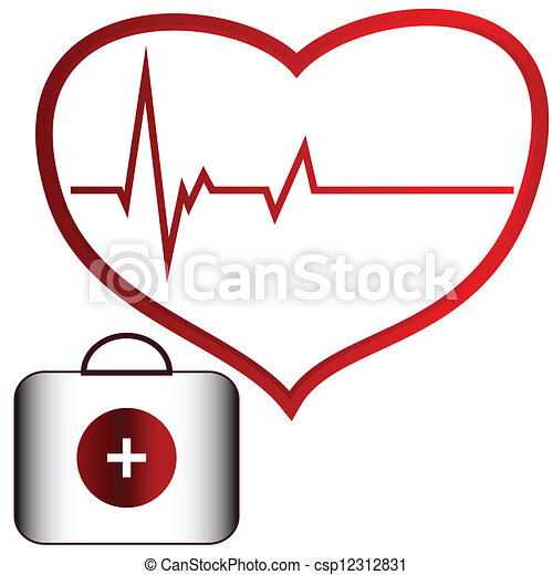 medical concept of the heart and doctor bag rh canstockphoto com Vintage Heart Clip Art Woman Doctor Clip Art