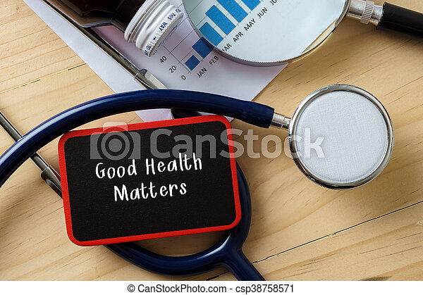 Medical conceptual.Stethoscope on wooden table with word GOOD HEALTH MATTERS. - csp38758571