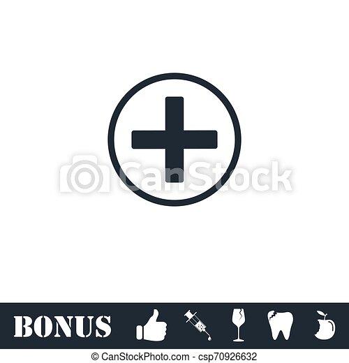 Medical cross icon flat - csp70926632