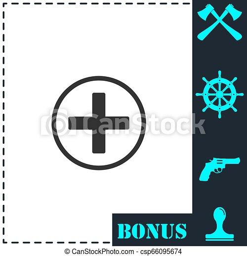 Medical cross icon flat - csp66095674