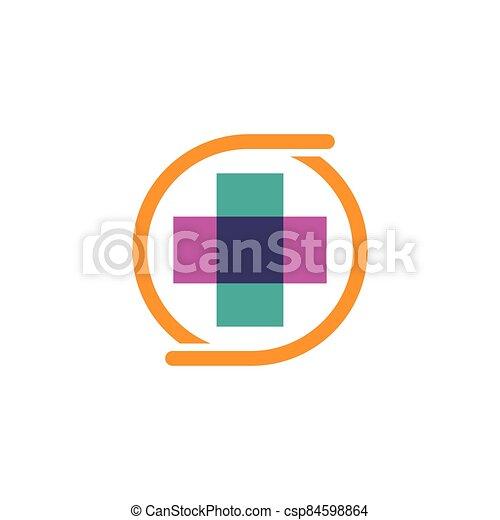 Medical cross logo vector icon - csp84598864