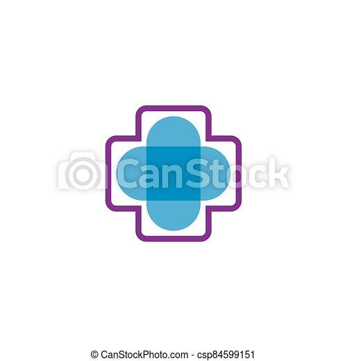 Medical cross logo vector icon - csp84599151