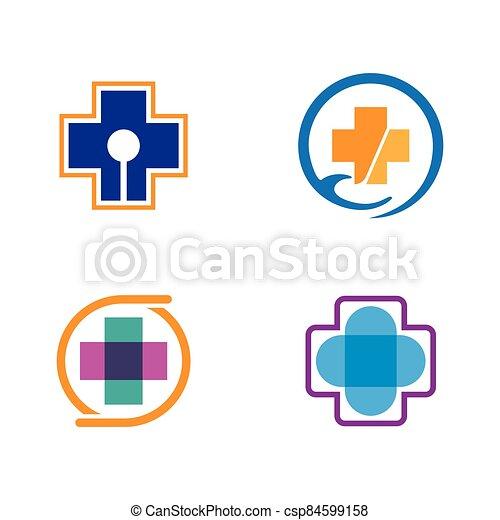 Medical cross logo vector icon - csp84599158