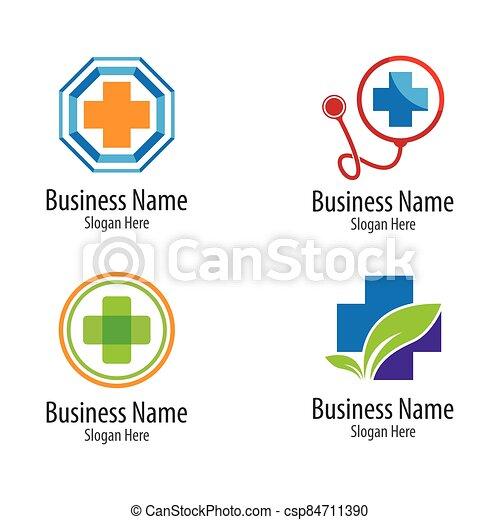 Medical cross logo vector icon - csp84711390