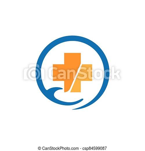 Medical cross logo vector icon - csp84599087