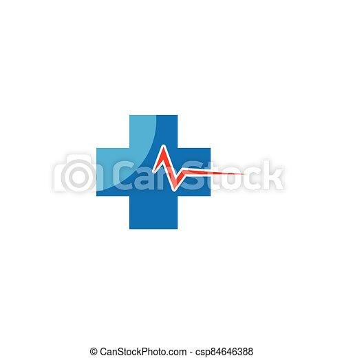 Medical cross logo vector icon - csp84646388