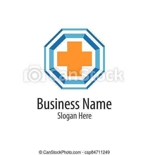 Medical cross logo vector icon - csp84711249